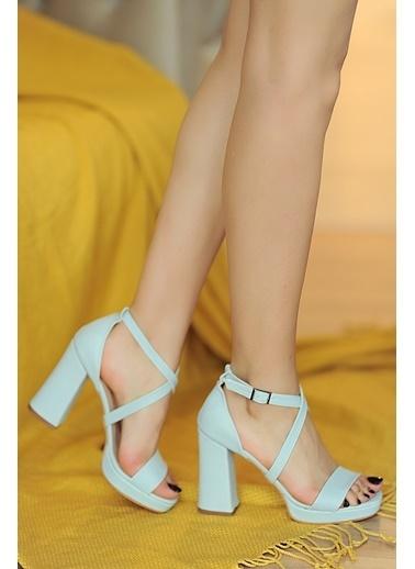 Pembe Potin A064-20 Kadın Topuklu Ayakkabı Mavi